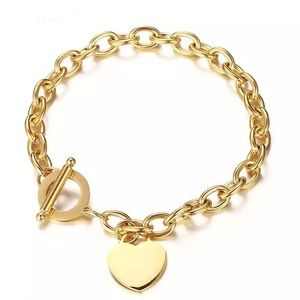 Stainless steel chain blank heart bracelet